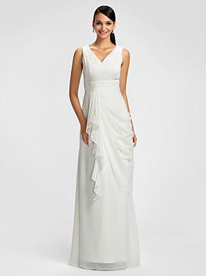 Dress Sheath / Column V-neck Floor-length Chiffon with Draping / Sash / Ribbon / Criss Cross / Side Draping / Cascading Ruffles