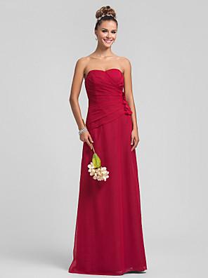 Lanting Bride® עד הריצפה שיפון שמלה לשושבינה  מעטפת \ עמוד מחשוף לב פלאס סייז (מידה גדולה) / פטיט עם פרח(ים) / בד בהצלבה