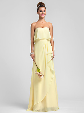 Floor-length Chiffon Bridesmaid Dress Sheath / Column Strapless Plus Size / Petite with Ruffles / Cascading Ruffles