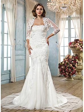 Lanting Bride® בתולת ים \ חצוצרה קטן / מידה גדולה שמלת כלה - קלסי ונצחי / זוהר ודרמטיותבהשפעת וינטאג' / שמלות חתונה שתיים באחת / שמלות