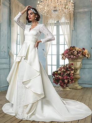 Lanting Bride® A-Linie Drobná / Nadměrné velikosti Svatební šaty - Klasické & nadčasové / Elegantní & luxusní Retro Extra dlouhá vlečkaDo
