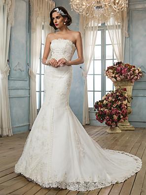 Lanting Bride® בתולת ים \ חצוצרה קטן שמלת כלה - קלסי ונצחי / אלגנטי ויוקרתי בהשפעת וינטאג' שובל קורט סטרפלס תחרה / סאטן עם