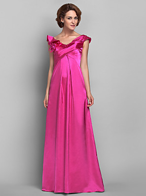 A-line Plus Size / Petite Mother of the Bride Dress Floor-length Sleeveless Satin with Flower(s) / Ruffles / Side Draping
