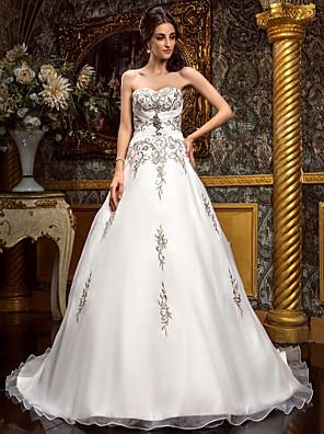 Lanting Bride® גזרת A קטן / מידה גדולה שמלת כלה - קלסי ונצחי / זוהר ודרמטיות בהשפעת וינטאג' / ברק ונצנצים / שמלות חתונה צבעוניותשובל