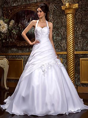 Lanting Bride® גזרת A / נסיכה מידה גדולה / קטן שמלת כלה - קלסי ונצחי / אלגנטי ויוקרתי שובל סוויפ \ בראש קולר אורגנזה עם