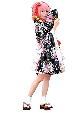 תלבושות Wa Lolita לוליטה Cosplay שמלות לוליטה Black פרחוני שרוול ארוך לוליטה מעיל קימונו / חצאית / קשת / לבוש ראש ל נשים פוליאסטר