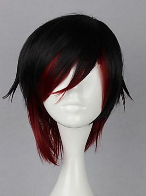 פאות קוספליי RWBY Ruby Rose שחור / אדום קצרה אנימה פאות קוספליי 35 CM סיבים עמידים לחום נקבה