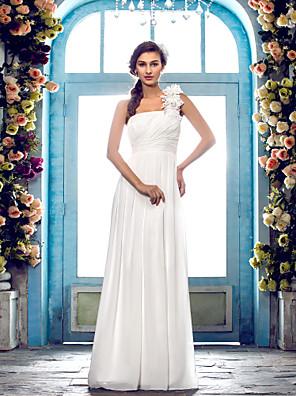 Lanting Bride Sheath/Column Petite / Plus Sizes Wedding Dress-Floor-length One Shoulder Chiffon