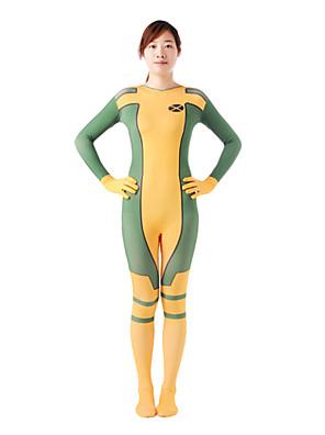Vícebarevné zentai Zentai Cosplay kostýmy Zelená / Žlutá Patchwork Lycra Unisex Halloween / Vánoce / Karneval