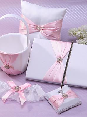 klassieke bruiloft collectie set in roze satijn (5 stuks) koraal bruiloft