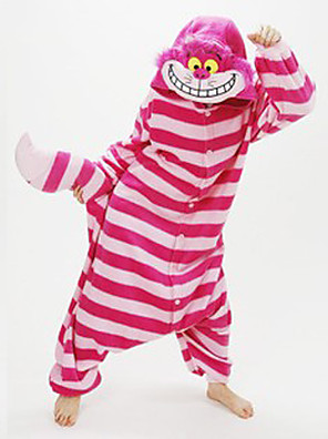 Kigurumi Pyjamas New Cosplay® / Kat / Chesire Cat Trikot/Heldragtskostumer Festival/Højtider Animal Nattøj Halloween Lyserød Patchwork