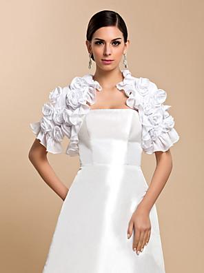 Wraps casamento Casacos / Jaquetas Manga Curta Chifon Branco Casamento / Festa / Casual Pétala Aberto à Frente