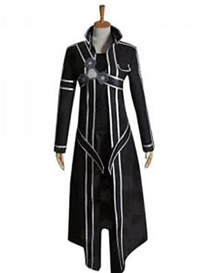 Inspirovaný Sword Art Online Kirito Anime Cosplay kostýmy Cosplay šaty Jednobarevné Czarny Dlouhé rukávyPřehoz / Kalhoty / Chrániče na