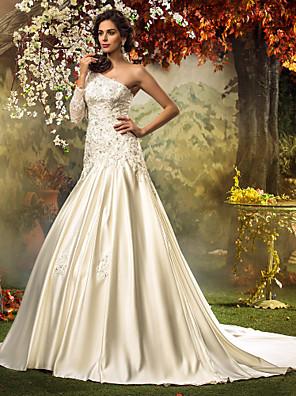 Lanting Bride® צמוד ומתרחב קטן / מידה גדולה שמלת כלה - קלסי ונצחי / אלגנטי ויוקרתי בהשפעת וינטאג' שובל כנסייה (צ'אפל) כתפיה אחתסאטן /