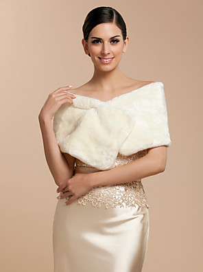 Fur Wraps / Wedding  Wraps Shrugs Sleeveless Faux Fur White / Champagne Wedding / Party/Evening / Office & Career / Casual Clasp