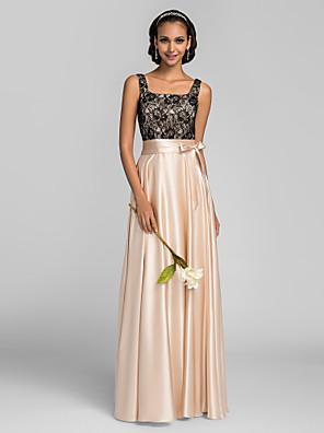 Lanting Bride® Longo Charmeuse Vestido de Madrinha - Linha A Quadrado Tamanhos Grandes / Mignon com Renda / Faixa / Fita