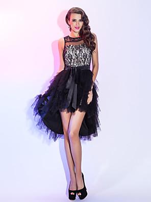 칵테일 파티 / 홈 커밍 / 홀리데이 드레스 - 하이 로우 A-라인 스쿱 비대칭 레이스 / 튤 와 허리끈/리본 / 캐스케이드 주름장식