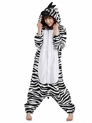 Kigurumi Pyjamas Zebra Gymnastikanzug/Einteiler Fest/Feiertage Tiernachtwäsche Halloween Weiß Patchwork Polar-Fleece Kigurumi Für Unisex