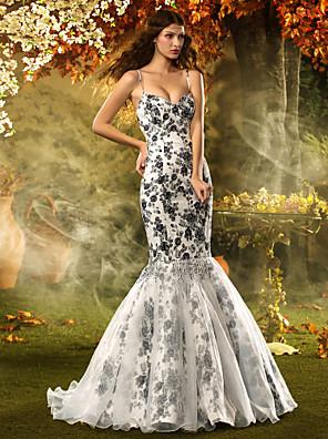 TS Couture® Fit & Flare Petite / Plus Sizes Wedding Dress-Court Train Spaghetti Straps Lace / Organza / Satin