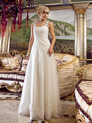 Lanting Bride® גזרת A קטן / מידה גדולה שמלת כלה  עד הריצפה מתחת לכתפיים טול עם
