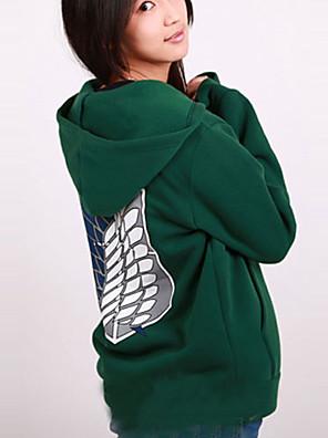 Inspirovaný Attack on Titan Mikasa Ackermann Anime Cosplay kostýmy cosplay Mikiny Tisk Zielony Dlouhé rukávy Kabát
