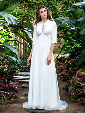 Lanting Bride® Tubinho Tamanhos Grandes / Pequeno Vestido de Noiva - Clássico e atemporal / Elegante e Luxuoso Cauda Corte Decote V