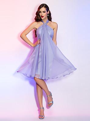 칵테일 파티 / 홈 커밍 / 홀리데이 드레스 - 짧은 A-라인 홀터 넥 무릎 길이 쉬폰 와 크리스탈 브로치
