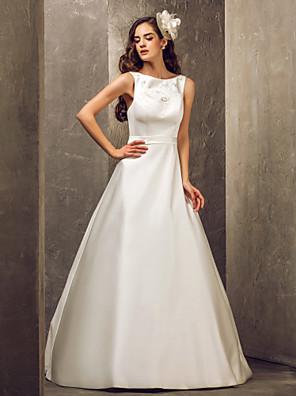 Lanting Bride A-line Petite / Plus Sizes Wedding Dress-Floor-length Bateau Satin