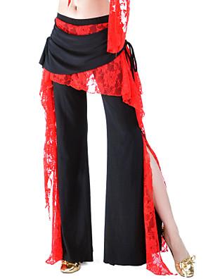 ריקוד בטן חלקים תחתונים בגדי ריקוד נשים אימון פוליאסטר תחרה / קפלים חלק 1 טבעי מכנסיים