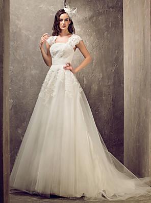 Lanting Bride® Linha A / Princesa Pequeno / Tamanhos Grandes Vestido de Noiva - Elegante e Luxuoso / Glamouroso e Dramático Sem costas