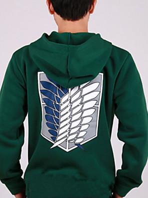 Inspirado por Attack on Titan Mikasa Ackermann animado Disfraces Cosplay sudaderas Cosplay Estampado Verde Manga Larga Abrigo