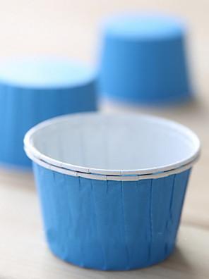 Solid Color Paper Cupcake indlejrer Med Turnup-Set af 50 (flere farver)