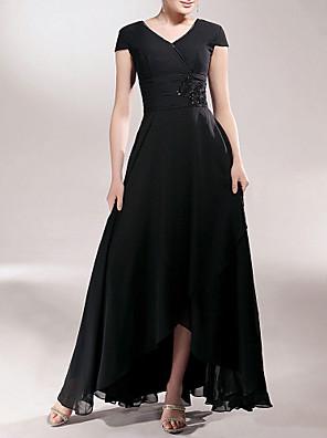 Lanting Bride® Pouzdrové Větší velikosti / Malé Šaty pro matku nevěsty Asymetrické Krátký rukáv Šifón - Aplikace / Korálky / Sklady