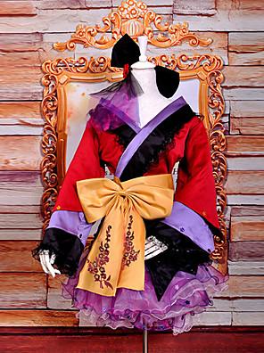 קיבל השראה מ Vocaloid Megurine Luka וִידֵאוֹ מִשְׂחָק תחפושות קוספליי חליפות קוספליי / קימונו טלאים אדום / סגול שרוולים ארוכיםמעיל קימונו