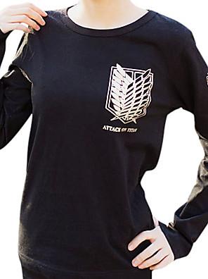 קיבל השראה מ Attack on Titan Mikasa Ackermann אנימה תחפושות קוספליי קפוצ'ון Cosplay דפוס שחור שרוולים ארוכים חולצת טי