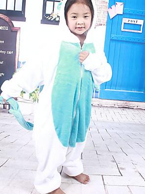 Kigurumi פיג'מות Unicorn /סרבל תינוקותבגד גוף פסטיבל/חג הלבשת בעלי חיים Halloween לבן / כחול טלאים פלנל Kigurumi ל ילדהאלווין (ליל כל