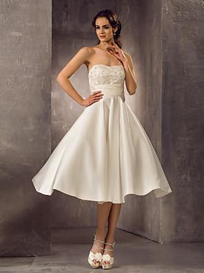 Lanting Bride® Linha A Pequeno / Tamanhos Grandes Vestido de Noiva - Clássico e atemporal / Elegante e Luxuoso / Recepção LonguetteTomara
