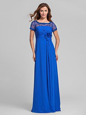 Lanting Bride® Longo Chiffon Vestido de Madrinha - Linha A Quadrado Tamanhos Grandes / Mignon com Miçangas / Flor(es) / Renda / Franzido