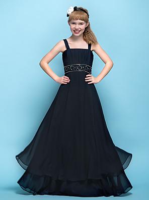 Lanting Bride® עד הריצפה שיפון שמלה לשושבינות הצעירות  גזרת A רצועות אמפייר (מתחת לחזה) עם אפליקציות / חרוזים / סלסולים / בד בהצלבה