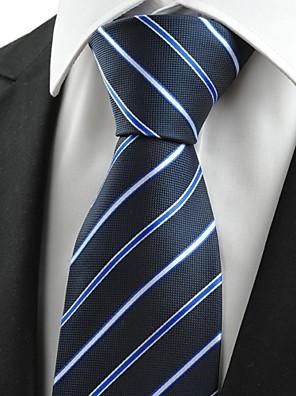 Új Stripe Blue Jacquard Férfi nyakkendő öltöny nyakkendő Party Holiday Gift