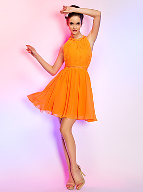 TS Couture® Cocktail Party / Homecoming / Holiday Dress - Short Plus Size / Petite A-line Jewel Short / Mini Chiffon with Appliques / Draping