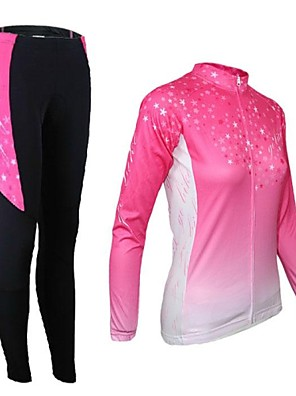 Arsuxeo® חולצה וטייץ לרכיבה לנשים שרוול ארוך אופניים נושם / שמור על חום הגוף / ייבוש מהיר / רוכסן קדמי / 3D לוחטייץ רכיבה על אופניים /