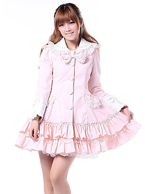 Casaco Doce Princesa Cosplay Vestidos Lolita Rosa Cor Única Manga Comprida Lolita Casaco Para Feminino Poliéster