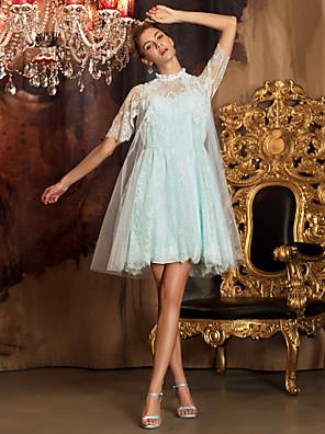 Lanting Bride® Knælang Blondelukning / Tyl Brudepigekjole A-linje Højhalset Plusstørrelse / Petite med
