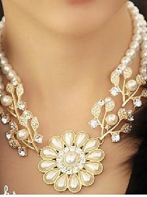 Halskæder Perle Lyserød Power Halskæde / Perlehalskæde Smykker Bryllup / Party / Daglig / Afslappet Flower Shape Vintage / Mode Perle Hvid