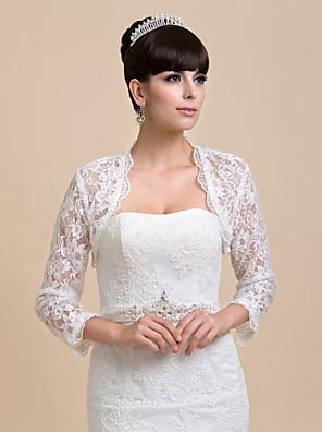 כורכת חתונה מעילים / מעילים חצי שרוול תחרה שנהב חתונה / מסיבה / ערב פתח חזית