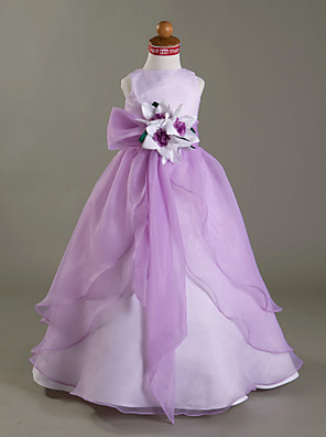 Lanting Bride A-linje / Balkjole / Prinsesse Gulvlang Blomsterpigekjole - Organza / Satin U. ærmer Bateau medBlomst(er) / Bælte / bånd /