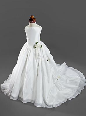 כלה לנטינג נשף שובל קורט שמלה לנערת הפרחים - סאטן / טפטה ללא שרוולים רצועות ספגטי עם אפליקציות / כיווצים למעלה / קפלים