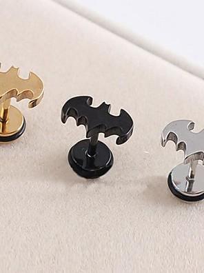 lureme®316l kirurgisk titanium stål galvanisering bat enkelt ørestikker (tilfældig farve)