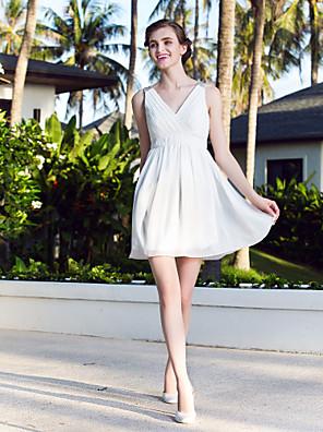 몸집이 작은 A 라인 / 공주 신부 lanting / 플러스 사이즈 웨딩 드레스 짧은 / 미니 V 넥 쉬폰